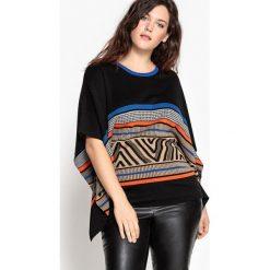 Sweter w stylu ponczo z żakardowym wzorem. Szare poncza marki La Redoute Collections, m, z bawełny, z kapturem. Za 220,46 zł.