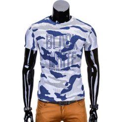 T-shirty męskie: T-SHIRT MĘSKI Z NADRUKIEM S741 – NIEBIESKI