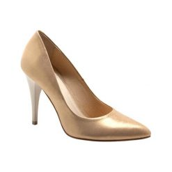 Buty ślubne damskie: Skórzane czółenka w kolorze złotym