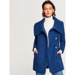Płaszcz z wełną - Niebieski. Niebieskie płaszcze damskie pastelowe Reserved, z wełny. Za 349,99 zł.