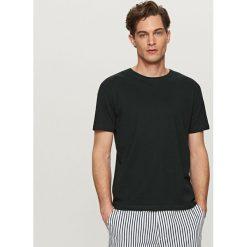 T-shirty męskie: Gładki t-shirt z lnem – Czarny