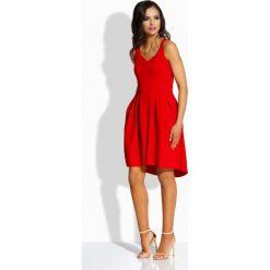 Sukienki balowe: Czerwona Kobieca Sukienka na Szerokich Ramiączkach