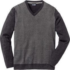 Swetry męskie: Sweter z dekoltem w serek Regular Fit bonprix antracytowy melanż