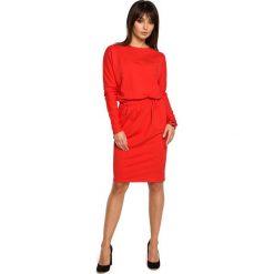 Czerwona Sukienka z Gumką w Pasie. Czerwone sukienki dzianinowe marki Molly.pl, l, biznesowe, z dekoltem na plecach, z długim rękawem. Za 149,90 zł.
