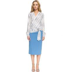 Kopertowa Bluzka z Wiązaniem. Czerwone bluzki wizytowe marki Molly.pl, l, z jeansu, biznesowe, z dekoltem na plecach, z długim rękawem. Za 118,90 zł.
