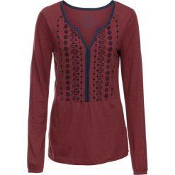 Tunika shirtowa z nadrukiem, długi rękaw bonprix czerwony kasztanowy. Czerwone tuniki damskie z długim rękawem bonprix, z nadrukiem. Za 37,99 zł.