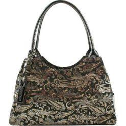 Torebki klasyczne damskie: Skórzana torebka w kolorze czarnym ze wzorem – (S)35 x (W)17 x (G)13 cm