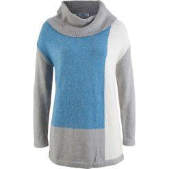 Swetry oversize damskie: Sweter z golfem oversize bonprix jasnoszary melanż – kryształowy niebieski melanż