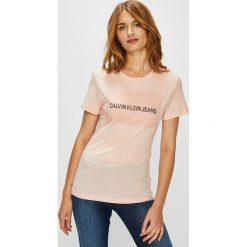 Calvin Klein Jeans - Top. Szare topy damskie Calvin Klein Jeans, l, z aplikacjami, z bawełny, z okrągłym kołnierzem. Za 249,90 zł.