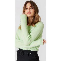 Swetry klasyczne damskie: Samsoe & Samsoe Krótki sweter z okrągłym dekoltem Nor – Green