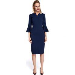 CERA Sukienka z falbankami przy rękawach - granatowa. Niebieskie sukienki na komunię marki Moe, do pracy, biznesowe, z falbankami, ołówkowe. Za 139,99 zł.