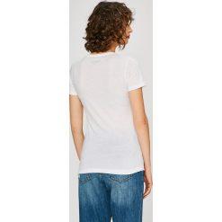 Pepe Jeans - Top. Różowe topy damskie marki Pepe Jeans, z gumy, na sznurówki. W wyprzedaży za 99,90 zł.