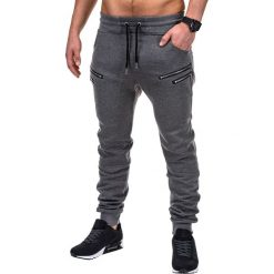 SPODNIE MĘSKIE DRESOWE P422 - GRAFITOWE. Szare spodnie dresowe męskie Ombre Clothing, z bawełny. Za 39,00 zł.