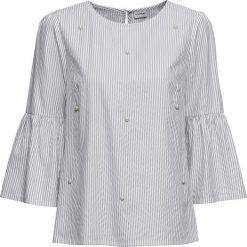 Bluzki damskie: Bluzka w paski z perełkami bonprix szaro-biały w paski