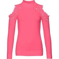 Sweter z wycięciami bonprix różowy. Czerwone swetry klasyczne damskie bonprix. Za 129,99 zł.
