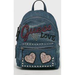 Guess Jeans - Plecak. Szare plecaki damskie Guess Jeans, z aplikacjami, z bawełny. W wyprzedaży za 439,90 zł.