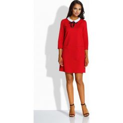 Sukienki: Czerwona Kobieca Sukienka z Białym Kołnierzykiem