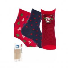 Skarpety Świąteczne Damskie 999 3-pack. Czerwone skarpetki damskie marki DOMYOS, z elastanu. Za 33,90 zł.