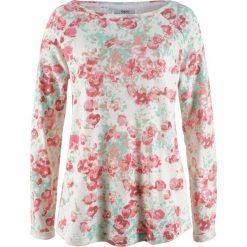 Bluzy rozpinane damskie: Bluza bonprix biel wełny z nadrukiem
