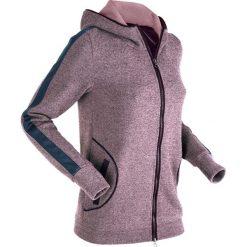 Bluzy rozpinane damskie: Bluza rozpinana z elementami w optyce sztucznej skóry, długi rękaw bonprix czarny bez melanż