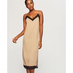 Sukienka z koronkową lamówką - Beżowy. Brązowe sukienki koronkowe marki Reserved, l. Za 119,99 zł.