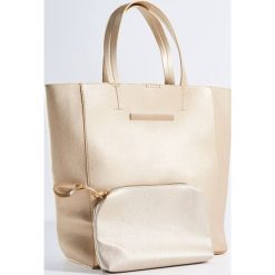 Shopper bag damskie: Duża torba shopper z kosmetyczką - Złoty