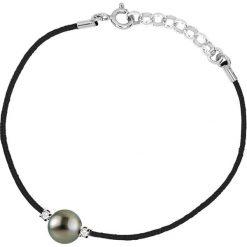 Bransoletki damskie na nogę: Bransoletka w kolorze czarnym z hodowlaną perłą Tahiti i diamentami w kolorze czarnym