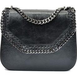 Torebki klasyczne damskie: Skórzana torebka w kolorze czarnym – 21 x 24 x 7 cm