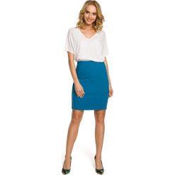 NICOLE Ołówkowa, mini spódnica z dwoma zamkami - turkusowa. Niebieskie minispódniczki Moe, ołówkowe. Za 109,99 zł.