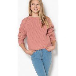 Sweter z grubej dzianiny 10-16 ans. Szare swetry chłopięce La Redoute Collections, z dzianiny, z okrągłym kołnierzem. Za 96,98 zł.