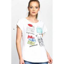 Biały T-shirt Advance Guard. Białe bluzki damskie Born2be, l. Za 54,99 zł.
