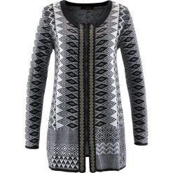 Długi sweter rozpinany bonprix czarno-biel wełny. Czarne kardigany damskie marki bonprix, z wełny. Za 89,99 zł.