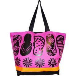 """Torba plażowa """"Acapulco"""" w kolorze czarno-różowym - 35 x 58 x 23 cm. Czarne torby plażowe Le Comptoir de la Plage, z tworzywa sztucznego. W wyprzedaży za 38,95 zł."""