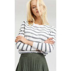Swetry klasyczne damskie: Biało-Szary Sweter Bright