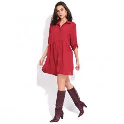 Fille Du Couturier Sukienka Damska Oriane 42 Czerwony. Czerwone sukienki Fille Du Couturier, z koszulowym kołnierzykiem, koszulowe. Za 209,00 zł.