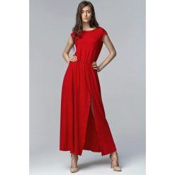 Czerwona Efektowna Maxi Sukienka z Długim Rozporkiem. Czerwone długie sukienki Molly.pl, na lato, l, wizytowe, z asymetrycznym kołnierzem, z długim rękawem, asymetryczne. Za 139,90 zł.