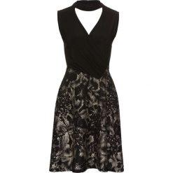 """Sukienki: Sukienka z dżerseju z opaską """"choker"""" bonprix czarno-złoty"""