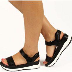 Rzymianki damskie: Czarne sandały damskie sportowe na rzep Wishot