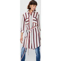 Answear - Koszula Falling In Autumn. Szare koszule damskie marki ANSWEAR, l, w paski, z materiału, klasyczne, z klasycznym kołnierzykiem, z długim rękawem. W wyprzedaży za 99,90 zł.
