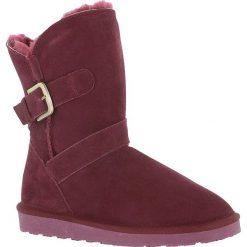 """Buty zimowe damskie: Skórzane kozaki """"Blume"""" w kolorze bordowym"""