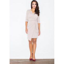 Odzież damska: Beżowa Elegancka Sukienka z Wiązaniem