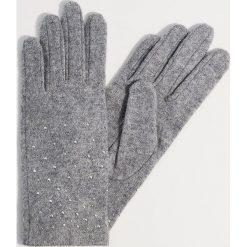 Wełniane rękawiczki z dżetami - Jasny szar. Brązowe rękawiczki damskie marki Roeckl. Za 49,99 zł.