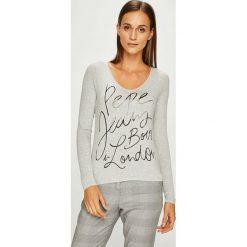 Pepe Jeans - Bluzka. Szare bluzki asymetryczne Pepe Jeans, l, z nadrukiem, z dzianiny, casualowe. W wyprzedaży za 139,90 zł.