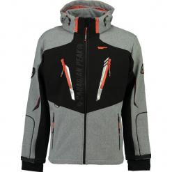 """Kurtka softshellowa """"Travel"""" w kolorze czarno-pomarańczowym. Brązowe kurtki męskie marki Canadian Peak, l, z nadrukiem. W wyprzedaży za 318,95 zł."""