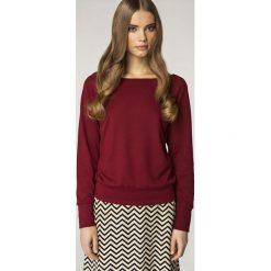 Prosty Bordowy Sweter z Półokrągłym Dekoltem. Czerwone swetry oversize damskie Molly.pl, s, z dzianiny. Za 99,90 zł.