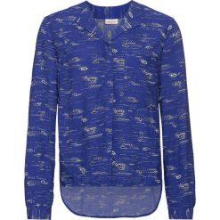 Bluzka z nadrukiem, długi rękaw bonprix szafirowy z nadrukiem. Niebieskie bluzki asymetryczne bonprix, z nadrukiem, z długim rękawem. Za 32,99 zł.