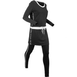 Długa bluza z legginsami sportowymi (kompl. 2-częściowy) bonprix czarny. Czarne bluzy sportowe damskie bonprix, z długim rękawem, długie. Za 129,99 zł.