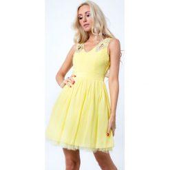 Sukienka z orginalnymi ramiączkami cytrynowa G5275. Żółte sukienki Fasardi, l. Za 79,00 zł.
