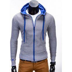BLUZA MĘSKA ROZPINANA Z KAPTUREM B485 - SZARA/NIEBIESKA. Niebieskie bejsbolówki męskie Ombre Clothing, m, z bawełny, z kapturem. Za 39,00 zł.