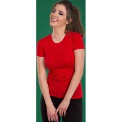 Bluzki damskie: Bluzka basic krótki rękaw okrągły dekolt czerwona